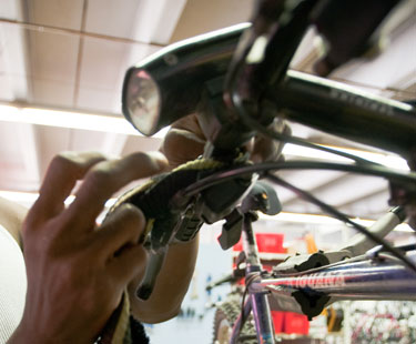 Fixing bike handlebars.
